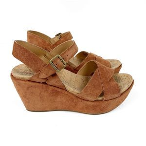 Kork-Ease Rust Suede Platform Wedge Sandals